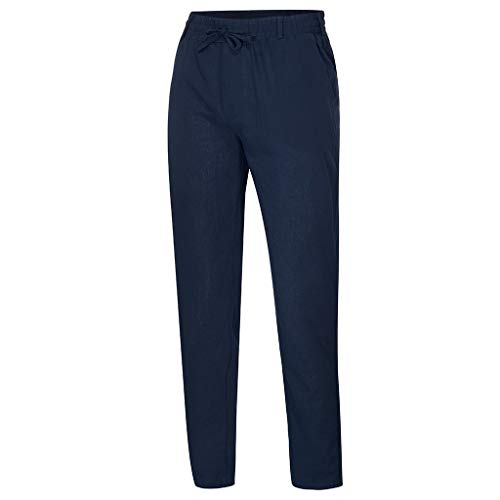 Innerternet ❤️ Pantaloni Lino Uomo Casual Puro Colore Pantaloni Leggeri Estivi Drawstring Uomini Taglie Forti Pantalone da Lavoro da Infermiere Opaco pantalaccio con Elastico