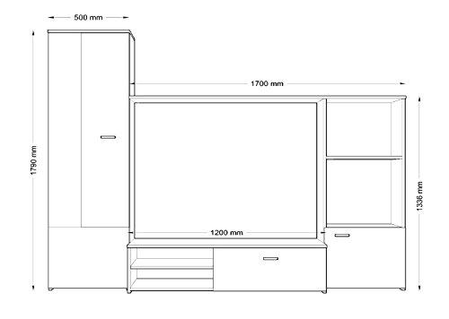 Wohnwand HUGO, Anbauwand, Wohnzimmer Möbel - 2