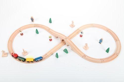 point-kids Holzeisenbahn Set 34 Teile, Zug komplett Set Holz