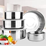 10 Piece Home Mixing Stainless Steel 5 Storage Bowl Set with 5 Plastic Lids