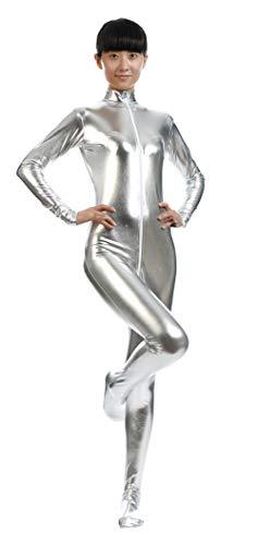 Insun Unisex Ganzkörperanzug mit Füßen Catsuit Unitard Anzug Suit Kostüm für Erwachsene und Kinder Silber S