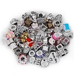 Pack Of 10 Assorted Silver and Rhinestone Charm Beads Fits Most Major Womens and Girls Charm Bracelets