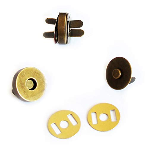 10komplette Sets Premium Magnetische Knöpfe, Snap, Tasche Magnete-antik Gold 18mm - Magnetische Snap Tasche