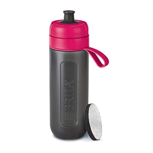 BRITA Wasserfilter-Flasche fill&go Active Pink - Robuste Sport Trinkflasche mit Wasserfilter für unterwegs aus BPA-freiem Kunststoff - Zusammendrückbar - Britta Wasser-filter-flasche