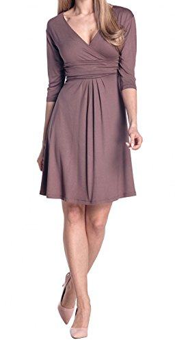 Glamour Empire Damen Kleid Tiefer VAusschnitt Sommerkleid Cocktailkleid 282  Cappuccino