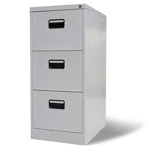 Tidyard- armadio da ufficio in metallo, schedario per ufficio con 3 cassetti grigio metallo