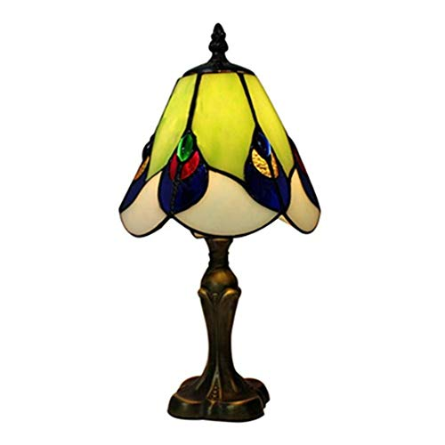Light-YRQ Tiffany-Stil Tischlampe 16 Zoll Moderne Glasmalerei Tisch Schreibtisch neben Lampe Harz Basis Schlafzimmer Nachttischlampe, lebende Dekoration Nachtlicht, E27 -