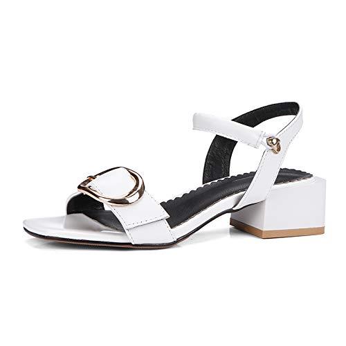 MENGLTX 2018 Marke aus echtem Leder Beste Qualität Sommer Sandalen Schuhe Frauen große Größe 33-43 Partei Schuhe Frau 6,5 Weiß -