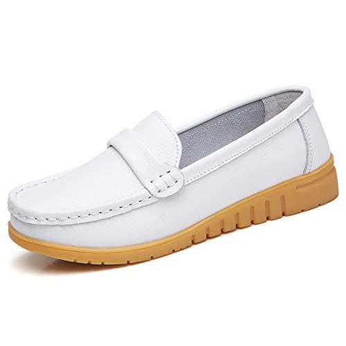GAXmi Mocasines de Cuero Mujer Loafers Zapato Plano Verano Primavera Otoño Blanco Tamaño 40/250...