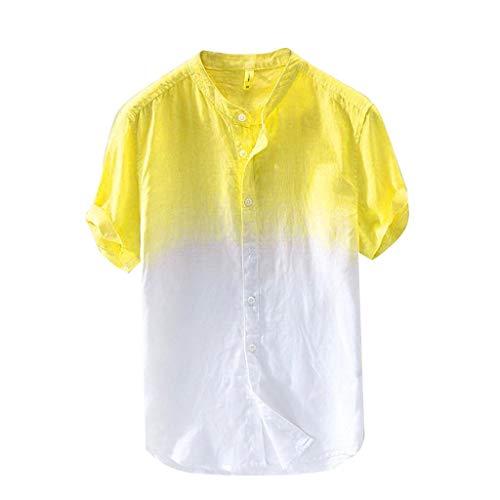 Shirt Herren,ESAILQ Sommer Herren cool und dünn atmungsaktiv Kragen hängen gefärbt Farbverlauf (Vampir Baseball Kostüm)