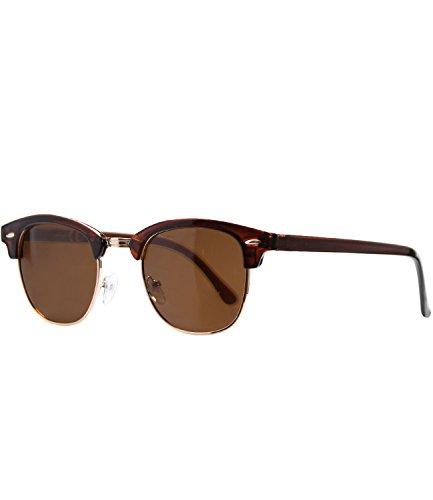 Caripe Retro Sonnenbrille 60er Damen Herren Halbrahmen Vintage verspiegelt - clubma (braun transparent - braun getönt-polarisiert-6006)
