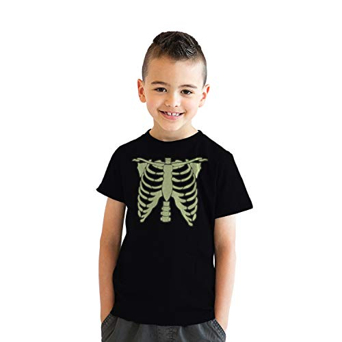 Youth Glowing Skeleton Rib Cage Cool Halloween T Shirt (Black) - M - Jungen - M ()