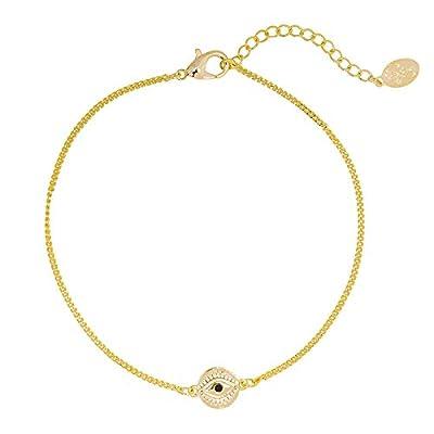 Bracelet chainette Oeil plaqué Or - bracelet mauvais oeil - Symbole eye