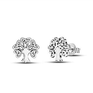 Ohrstecker Silber 925 Damen Ohrringe, Keltischer Knoten Baum des Lebens Ohrringe, INFUSEU Schmuck Valentinstag Muttertag Geburtstag Geschenk für Frauen