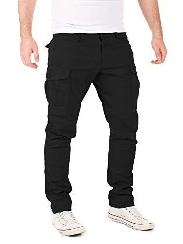 Yazubi Cargo Hose Männer Jayden - Schwarze Lange Cargohose Herren Chino - Security Chinos Reissverschluss Taschen, Schwarz (Black 4008), W32/L30