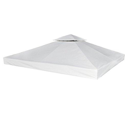 Festnight copertura per gazebo impermeabile di ricambio per gazebo 270 g m² bianco crema 3 x 3 m