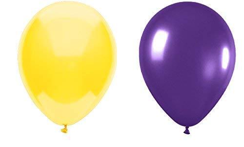 INERRA Luftballons - 50 Stück Packung Gemischt (25 X Gelb & 25 X Lila) Latex 12