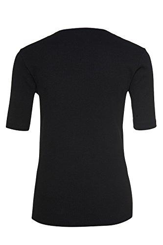 GINA LAURA Damen   T-Shirt   Fein-Ripp   Größe S-XXXL   Kurzarm, Rundhals-Ausschnitt   Super-Stretch   100905 Schwarz