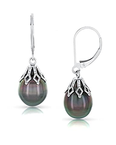 9mm Tahitian South Sea High Luster Baroque Cultured Pearl Crown Earrings - AAA Quality