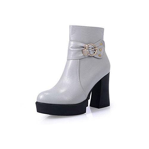 VogueZone009 Damen Rund Zehe Hoher Absatz Blend-Materialien Niedrig-Spitze Stiefel, Weiß, 38