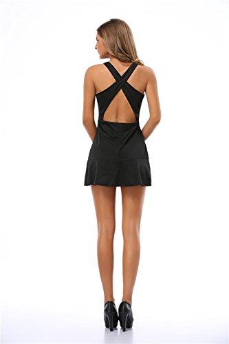 Europa Und Amerika Hohles Kleid Sexy Querrückengurt Black
