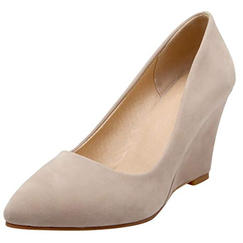 LILIGOD Frauen Business Anzug Schuhe Lässig Bequeme Pumps Schuh Keile Einzelne Schuhe Damen Mode Keilabsatz High Heels Bequem Wild Arbeitsschuhe Flacher Mund Gefrostet Damenschuhe