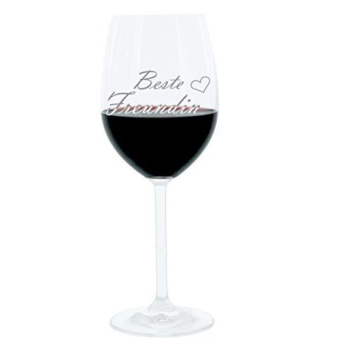 Leonardo Weinglas 400 ml, Freundin, Stimmungsglas mit lustiger Gravur, Moodglas, 22 cm