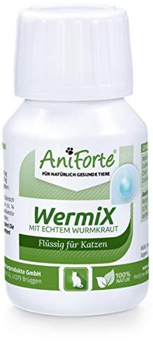 AniForte WermiX Flüssig und Mild für Katzen 50ml - Natürlicher Wurmfeind Liquid Tropfen, Naturprodukt Bei und nach Wurmbefall, Spezielle Natur-Mischung, Schonend für Tiere, Magen, Darm