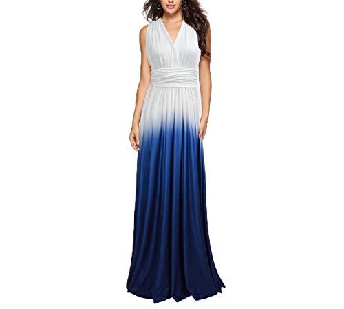 CuteRose Womens Cross Cut Gradients Evening Backless Multi-Way Maxi Dress Dark Blue XS