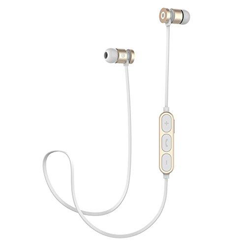 Bluetooth Kopfhörer Sweatproof Sport Kopfhörer Wireless Headset Magnetische attraktion Ohrhörer für Laufen Workout Gym Noise Cancelling (Weißgold)