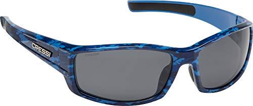 Cressi Unisex- Erwachsene Hunter Sunglasses Sport Sonnenbrille, Blau Camouflage/Geräucherte Linsen, One Size