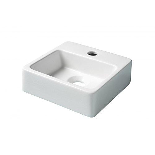 Lave main droit porcelaine blanc