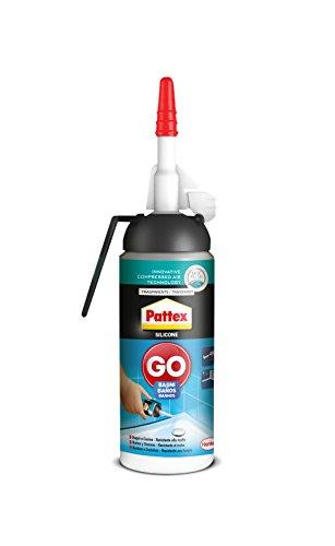 Pattex Silicona Go Baños, silicona transparente con aplicación fácil y precisa, silicona antimoho para baño y cocina, sellador de juntas impermeable, 1 x 100 ml