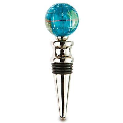 Alexander Kalifano Bahama Blue Multi-Gemstone Globe Silver Wine Bottle Stopper