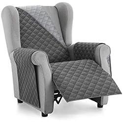 Textilhome - Housse Fauteuil Relax Malu, Taille 1 Places-. Housse Matelasse Réversible. Couleur Grey