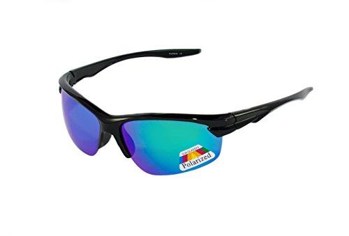 rainbow safety Kinder Sportbrille Sonnenbrille Polarisiert 8+ Jahre UV400 Schutz 3302 Schwarz verspiegelt Grün