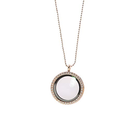 Cool Ring Floating Open Medaillon Anhänger Runde Halskette mit Kette Charm Memory Geschenk für Paare (Roségold)
