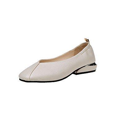 RTRY Donna Tacchi Scarpe Formali Comfort Pu Autunno Casual Parte &Amp; Abito Da Sera Passeggiate Formale Comfort Scarpe Tacco Basso Marrone Bianco Nero1A-1 US6.5-7 / EU37 / UK4.5-5 / CN37