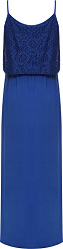 WEARALL Plus Womens Long Maxi Dress Ladies Strappy Sleeveless Floral Lace Stretch New – Royal Blue – 20