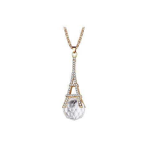 Beito Klar Zirkonia Eiffelturm-hängende Halskette mit Kristallen Strass Anhänger Halskette Modeschmuck für Mädchen Goldene 1PC - Hängende Handtuch Bar