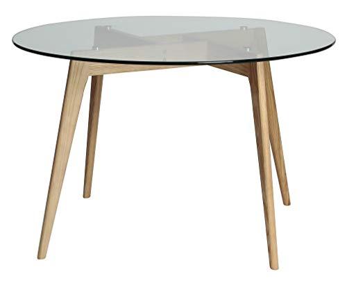 ambiato Esstisch Janis Rund 120cm Küchentisch Konferenztisch Büro Tisch Glastisch Wildeiche oder Schwarz (Wildeiche) - Eiche Konferenztisch