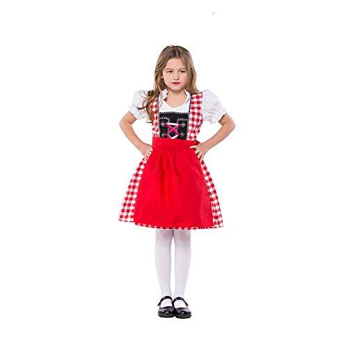 BEESCLOVER Kinder Mädchen Bayerische Trachtenmode Oktoberfest Kellnerin Cosplay Kostüm Rotes Plaid M- (100-115) (Kellnerin Kostüm Mädchen)