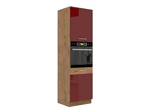 Küchenschränke Woodline Unterschrank Hängeschrank Spülenunterschrank Herdumbauschrank Eckunterschrank Geschirrspülerblende Küchenzeile (Eiche Lancelot/Bordeaux Hochglanz, Backofenschrank 60 DP-210 2F)
