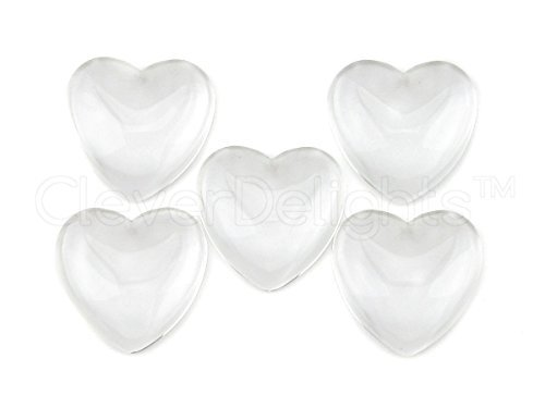 10 CleverDelights Heart Glass Cabochons - 1 inch - 25mm - Clear Dome Magnifying Cabs - 1 by CleverDelights