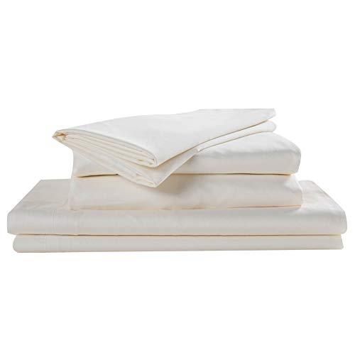 Cotton Home Baumwolle Home-Luxury Collection 620Fadenzahl Perkal-100% Ägyptische Baumwolle-4Stück Seidig Satin-Bettlaken-Set King Cremefarben -
