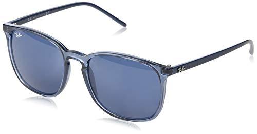Ray-ban 0rb4387 occhiali da sole, blu (transparente blue), 55 uomo