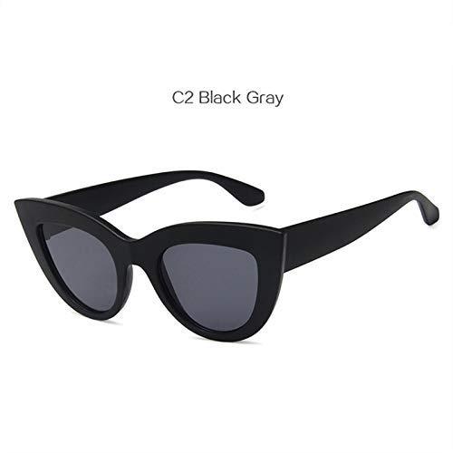 ZHAS High-End-Brille Frauen Cat Eye Sonnenbrille Vintage Spiegel Sonnenbrille Frauen Eyewear Shades Für Damen Personalisierte High-End-Sonnenbrille schwarz