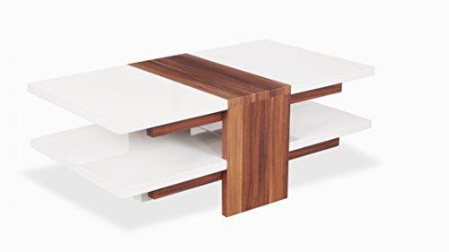 UK Leisure World Table Basse en Verre Blanc Brillant Noir élégant et Moderne Contemporain Salle Wood