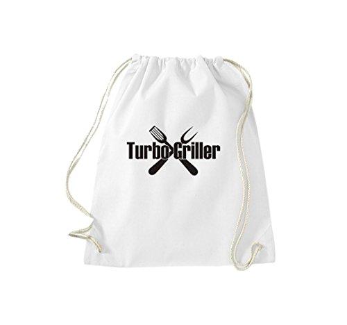 Turnbeutel Turbo Griller Grillfest grillen Gymsack Kultsack Weiß