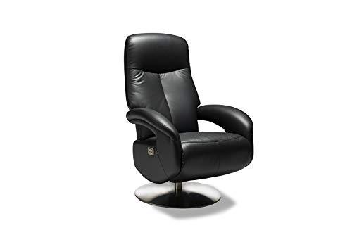 Furnhouse - poltrona in pelle, con gambe in ferro antiruggine, 79 x 85 x 115 cm, colore: nero